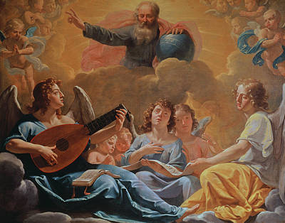 Guitar Angels Painting - A Concert Of Angels by Philippe de Champaigne