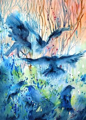 Painting -  A Conspiracy Of Ravens  by Trudi Doyle
