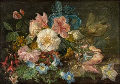 Still Life Painting - A Continental Old Master Still Life Delicate Flowers by Celestial Images