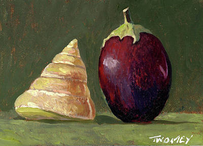 Painting - A Conversation, Eggplant Greeting Shell by Catherine Twomey