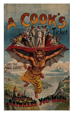 Mixed Media - A Cook's Ticket - The Magic Carpet - Vintage Advertising Poster by Studio Grafiikka