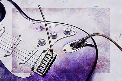 Digital Art - A Cool Purple Guitar by Anthony Murphy