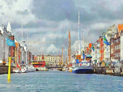 Digital Art - A Copenhagen Canal by Digital Photographic Arts
