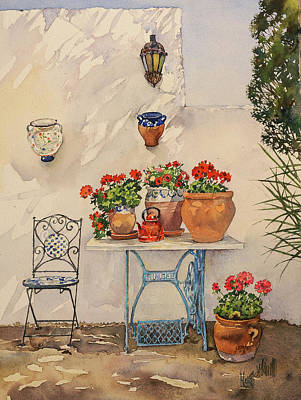 Painting - A Corner Of Utes Garden by Margaret Merry