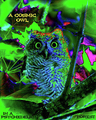 A Cosmic Owl In A Psychedelic Forest Art Print by Ben Upham III