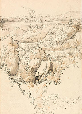 Chimney Drawing - A Cottage Among Trees, Shoreham by Samuel Palmer