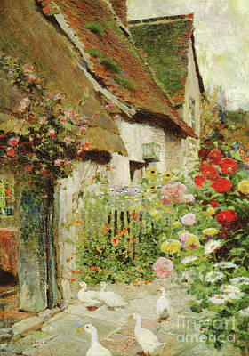 Charming Cottage Painting - A Cottage Door by David Woodlock