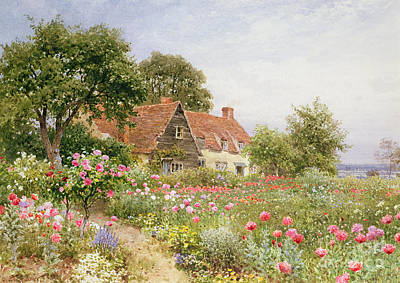 Bed Painting - A Cottage Garden by Henry Sutton Palmer