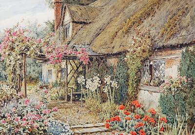 A Cottage Garden Painting - A Cottage Garden by MotionAge Designs