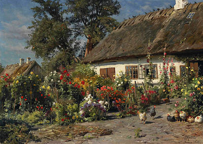 Painting - A Cottage Garden With Chickens by Peder Monsted
