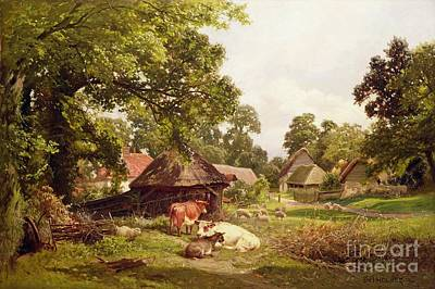 Rustic Barn Painting - A Cottage Home In Surrey by Edward Henry Holder