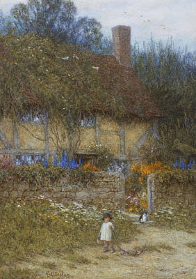 Delphinium Painting - A Cottage Near Godalming Surrey by Helen Allingham