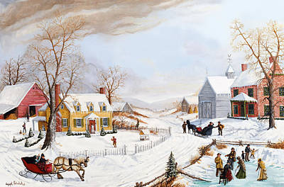 Horse And Sleigh Painting - A Country Calling by Joseph Holodook
