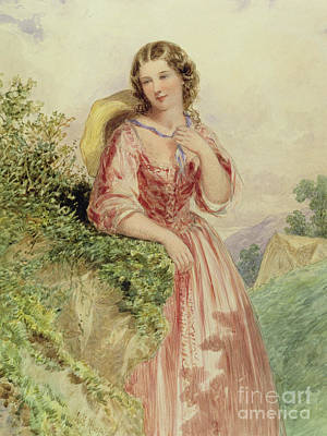 Silk Painting - A Country Girl, 19th Century by Henry Hobson