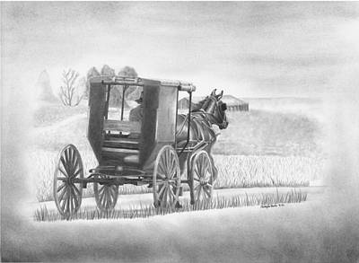 Amish Drawing - A Country Ride by Christopher Brooks