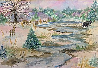 A Country Winter - Deer And Black Bear  Original by Ellen Levinson