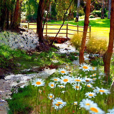 A Country Stream With Wild Daisies Art Print