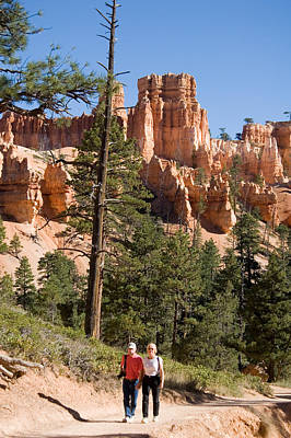 A Couple Hikes Along A Trail In Bryce Art Print
