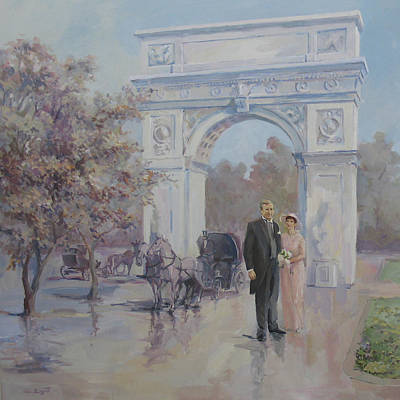 Horse Painting - A Couple In Front Of The Washington Arch by Tigran Ghulyan