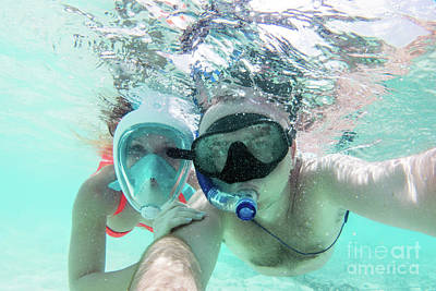 Photograph - A Couple In Love Taking Selfie Underwater In Indian Ocean, Maldives by Michal Bednarek