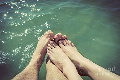 Feet Photograph - A Couple In Love Wetting Their Feet In The Sea. Summer Holidays. Vintage. by Michal Bednarek