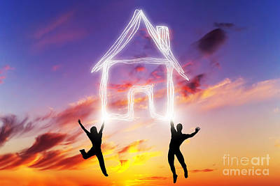 Connect Photograph - A Couple Jump And Make A House Symbol Of Light by Michal Bednarek