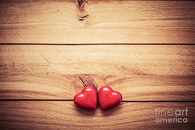 Pair Photograph - A Couple Of Red Little Hearts On Wood by Michal Bednarek