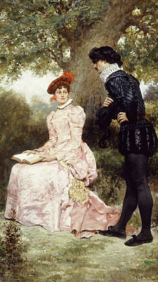 Sit-ins Painting - A Courting Couple  by Jules Arsene Garnier