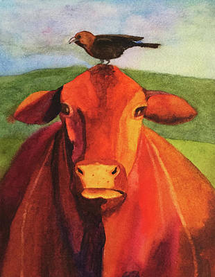 Painting - A Cow And Her Bird by Kerrie Hubbard