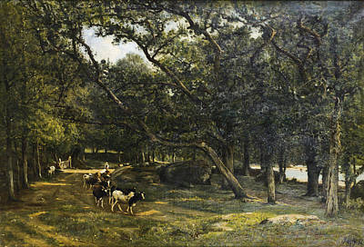 Painting - A Cow Herd On A Path by Louis Aime Japy
