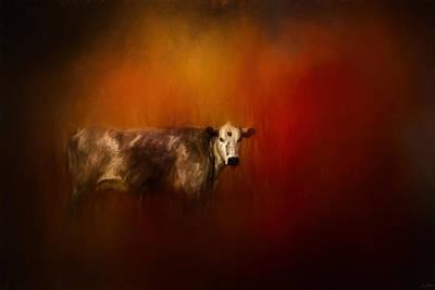 A Cow In Autumn Art Print by Jai Johnson