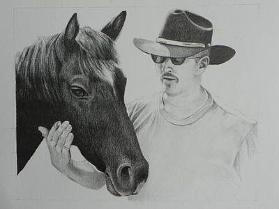 Reds Of Autumn Drawing - A Cowboy And His Horse by David Ackerson