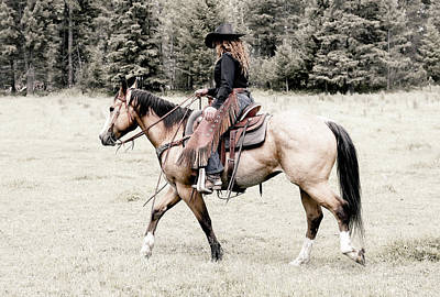 Photograph - A Cowgirl And Her Horse by Athena Mckinzie