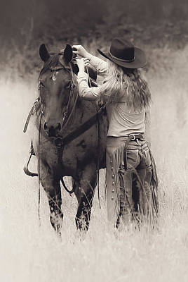 Photograph - A Cowgirls Love Bw by Athena Mckinzie