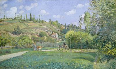 Agricultural Painting - A Cowherd At Valhermeil, Auvers-sur-oise by Camille Pissarro