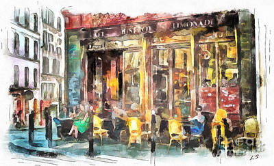 Bistro Drawing - A Cozy Bistro In Paris by Sergey Lukashin