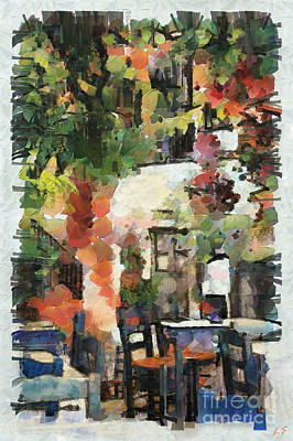 Painting - A Cozy Cafe In Greece by Sergey Lukashin