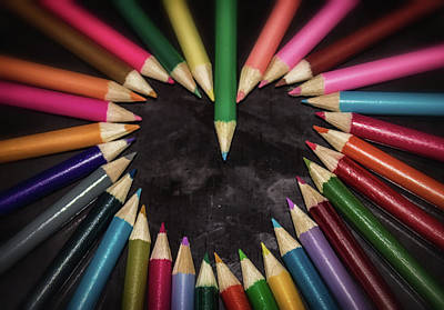 Colored Pencil Abstract Photograph - A Creative Heart by Martin Newman