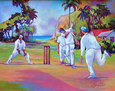 Painting - A Cricket Game by Glenford John