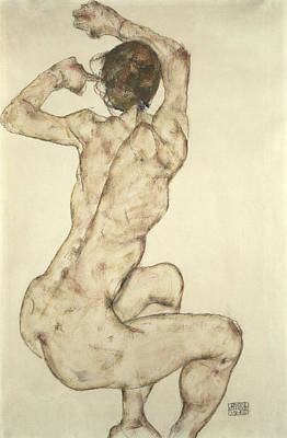 Erotica Painting - A Crouching Nude by Egon Schiele