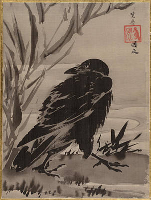 A Crow And Reeds On The Bank Of A Stream Art Print by Kawanabe Kyosai