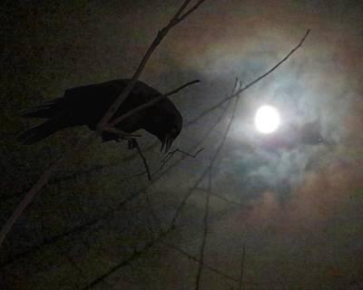 Mixed Media - A Crow Moon by I'ina Van Lawick