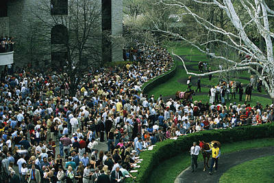 Keeneland Photograph - A Crowd Gathers Around Keenelands by Melissa Farlow