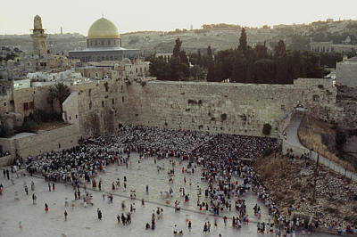 Judaic Photograph - A Crowd Gathers Before The Wailing Wall by James L. Stanfield