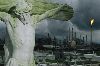 Industry And Production Photograph - A Crucifixion Statue In A Cemetery by Joel Sartore