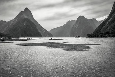 Photograph - A Cruise From Milford Sound In Black And White by Daniela Constantinescu