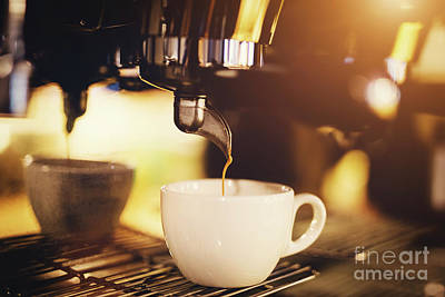 Photograph - A Cup Of Coffee Straight From A Coffee Machine. by Michal Bednarek