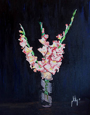 Art Print featuring the painting A Cutting Of Gladiolas by Jim Phillips