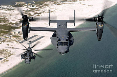 Rotary Wing Aircraft Photograph - A Cv-22 Osprey And An Mh-53 Pave Low by Stocktrek Images