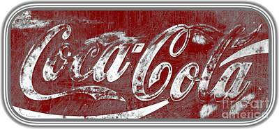 Photograph - Coca Cola Red And Grey White Letters Sign With Transparent Background by John Stephens